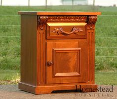 This custom handcrafted nightstand creates a beautiful solution for bedside storage. Pair it with other pieces from Homestead Furniture. Choose from a variety of paints, stains and hardwoods to create the look you want.  http://www.homesteadfurnitureonline.com