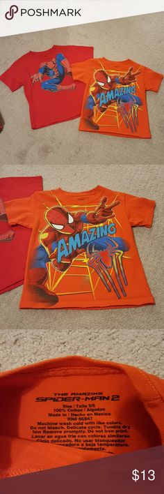 """EUC, Spiderman Tshirts Bundle of 2 boys Spiderman tshirts. One is orange with spider man on front and says """"Amazing"""" size 5/6 the other is red with spider man body coming down from coller size S-6/7. Both EUC with no signs of wear. Both are Marvel brand. Marvel Shirts & Tops Tees - Short Sleeve"""