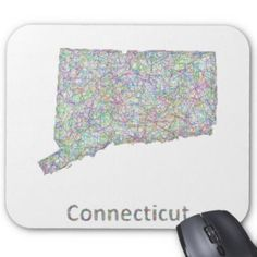 Connecticut map mouse pad $12.10 *** Colorful line art design map of Connecticut state. - mousepad