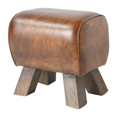 LIVINGSTON wood and leather stool in brown