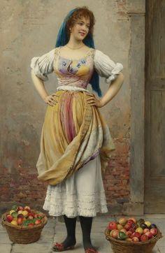 The Market Girl, Eugene de Blaas (Austrian painter,1843 -1931)