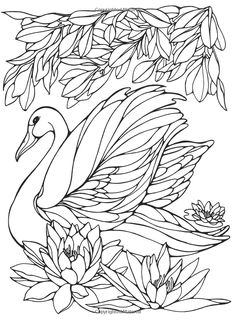 Printable Swan Painting Pages for Girls Worksheets is part of Bird coloring pages - Bird Coloring Pages, Adult Coloring Pages, Coloring Sheets, Coloring Books, Swan Painting, Diy Y Manualidades, Motifs Animal, Quilling Patterns, Colorful Pictures