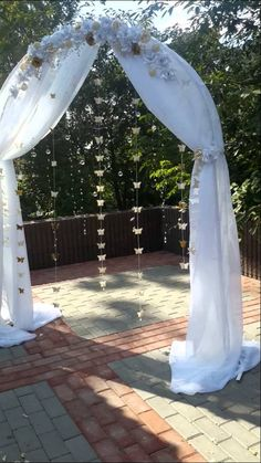 Wedding arch with butterfly, crystal and flowers - YouTube