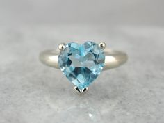 For the Love of Water: Blue Topaz Heart Shaped Cocktail Ring, Promise Ring
