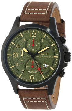 AVI-8 Men's AV-4001-04 Hawker Harrier II Analog Japanese-Quartz Brown Watch. #Watches #WatchReviews