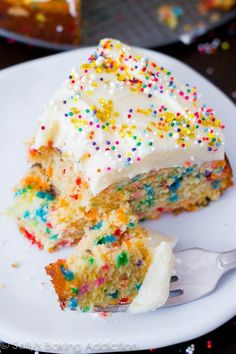 This is the BEST Homemade Funfetti Cake recipe by sallysbakingaddiction.com. And it's so easy to make!