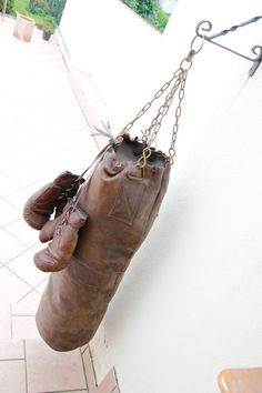 Old leather big punch sack / punching bag   Handmade by Benetflo, €265.00 - WALL ART, ADD TO VINTAGE SPORTS EQUIPMENT DISPLAY