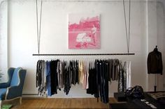 hanging clothing rack wood - Google Search