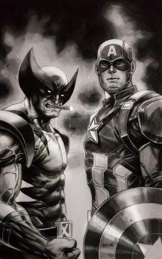 Wolverine & Captain America by Ryan Pasibe