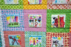 Kid's quilt (featuring drawings made by kids)