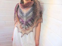 Knitted triangular scarf wool shawl Smoke Hand Knit Shawl
