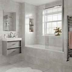 Grey Bathroom Floor, Fully Tiled Bathroom, Light Grey Bathrooms, Small Bathroom Interior, White Bathroom Tiles, Bathroom Design Luxury, Modern Bathroom Design, Wickes Bathroom Tiles, Gray And White Bathroom Ideas
