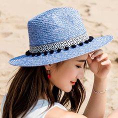Pom pom straw panama hat for women summer wide brim sun hats package d7f52cd2aa36