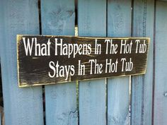Hot Tub Sign, outdoor spa pool.  Summertime, hand painted wood, choice of color