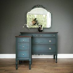 """*SOLD* This color! Prepare to see it on everything for a little while! It's a deep deep blue with a hint of green in it but not really enough to put it in the teal fam. I love it and it looks better in person too! Four drawer chest measures 19x42, 34"""" tall. $295. Three drawer nightstand measures 15x18, 31"""" tall, $145 (SOLD). Mirror is layered greige with hints of this deep blue throughout, measures 31x35. $85. All available tomorrow at MV! -Tara #modernvintage #blue #bedroomdecor…"""