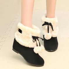 Hidden Wedge Pompon Fuzzy Short Boots