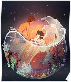 Flowers and Stars Poster