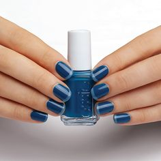 """French Bleu Twist - nail art Essie looks - apply Essie """"Hide & Go Chic"""" over the entire nail.  When dry, apply """"Truth or Flare"""" on the tip of each nail."""