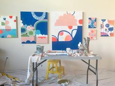 Six works in progress yesterday in my new light filled painting studio. I haven't had this much space to paint since I lived in Oakland & had a giant warehouse space. It's amazing to be able to work this way again. And don't worry, the boob painting will not turn into flowers. It will remain boobs! Another fun fact: I'm sharing this studio with my 78 year old mom Gerrie, who occupies the other side. She's a textile artist!