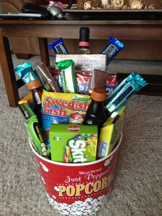 Romantic movie night idea for a couple contains romantic film movie date night basket for wedding gift negle Choice Image