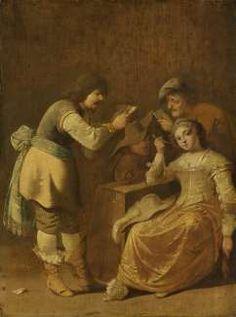 Card players with woman smoking a pipe, Pieter Jansz. Quast, 1630 - 1647 - Rijksmuseum