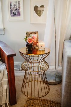 Curvy gold metal side table