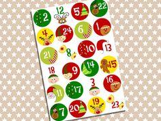 Adventskalender Zahlen Aufkleber - Set 1 von Papierdrachen by Silberfädchen auf DaWanda.com