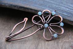Shawl pin scarf pin brooch Copper and aqua by Keepandcherish