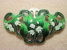 Sterling Enamel Lily of the Valley Flower Pin by Watson