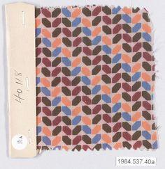 TEXTILE SAMPLE, Josef Hoffmann  (Austrian, Pirnitz 1870–1956 Vienna) Wiener Werkstätte ca. 1920