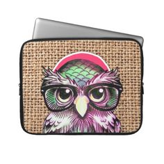 Cool  Colorful Tattoo Wise Owl With Funny Glasses Laptop Sleeves.  $31.95