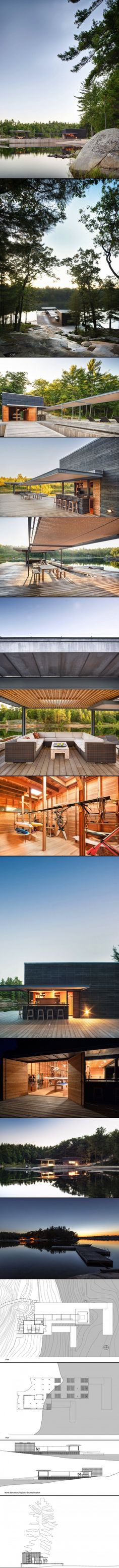 A Modern Boathouse by Weiss Architecture & Urbanism Limited / This modern boathouse was designed by Toronto-based Weiss Architecture and Urbanism for a family that enjoys water sports.  It is located on one of the many islands dotting The Archipelago in Georgian Bay, Ontario, Canada.
