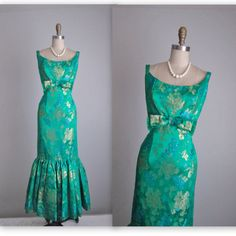 60's Holiday Gown // Vintage 1960's Emerald Floral Brocade Fitted Cocktail Party Wiggle Dress Gown S