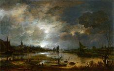 The Athenaeum - A River near a Town, by Moonlight (Aert van der Neer - )