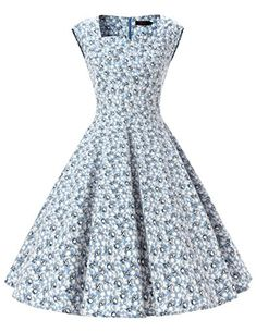 Dresstells Women 1950s Retro rockabilly dress Vintage Audrey Swing Dress Light Blue Flower XL ** Want additional info? Click on the image.-It is an affiliate link to Amazon.