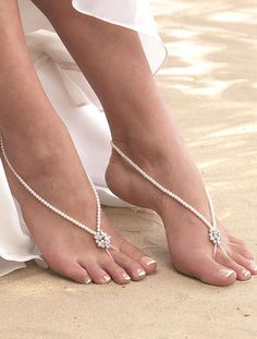 Arianna Foot Jewellery - ARS002, pair of pearl barefoot sandals with a diamante detail
