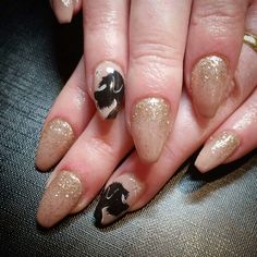 Defianze Peanut  Brittle with some jazzy nail art . Very popular neutral.