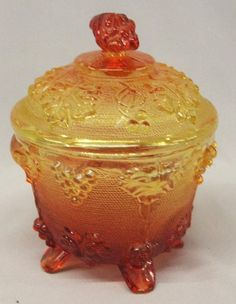 Amberina Glass Grape Pattern Covered Bowl