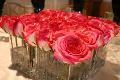 Wedding, Flowers, Pink, Centerpiece, Roses, Table, Floral, Glass - Project Wedding