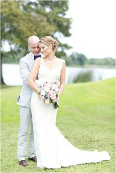 Dallas wedding photographer, Mary Fields Photography, bride and groom outdoor pictures, lace wedding dress, gray groom tuxedo, wedding by the lake  View More: http://maryfieldsphotography.pass.us/oyler-wedding-9-13-14