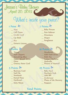 Mustache Baby Shower Games - Printable. $25.00, via Etsy.