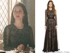 """In the episode 2x14 (""""The End of the Mourning"""") Queen Mary wears this Marchesa Voyage Embroidered Long Sleeve Gown ($995). Worn with a pair of Magwood Boutique earrings, Gillian Steinhardt labyrinth..."""