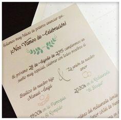 Invitación con un toque muy romántico y especial #bodasmint #mint #bodas2015