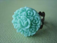Mint Rosebud Flower Ring  Antique Brass Adjustable by ZARDENIA, $9.00