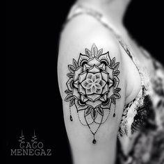 Shoulder tattoo by Caco Menegaz - ornamental tattoo - mandala tattoo - womens tattoo - ink addict - blackwork