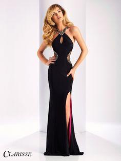 Clarisse Prom 3178 Black/Multi High Neckline Slit Prom Dress