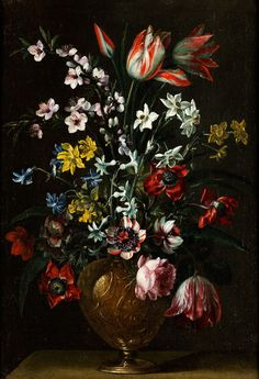 Pier Francesco Cittadini, 1616 Milan - Bologna 1681 A pair of paintings TWO STILL LIFES WITH fLORAL bOUQUET iN mETAL VASES Oil on canvas. 52.5 x 36 cm each. Accompanied by an expert's report by Dr Franco Paliaga. each still life in this elegant pair shows a magnificent floral bouquet at center in a metal vase decorated with bas-reliefs. There are similarities with other pairs of floral bouquets by Pier Francesco Cittadini, in Particular Those in metal vases, examined as to example in Santa…