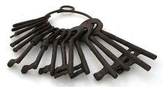 Set of 15 Antique Replica Jailer Padlock Keys