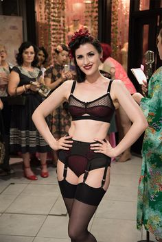 Look two from the gorgeous Audrey Hipturn on the catwalk at our Summer Soiree! Our Evelyn Lingerie was released only last week and is already flying off the shelves. This beautiful sheer dot set has a deep red lining fabric and is completely made in England. Catch up with all the social photos of our performers and lovely guests over on our blog