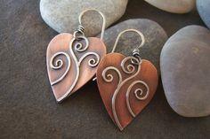 Copper SilverHeartDangleEarringsSaleFree Shipping. by JewlieBeads